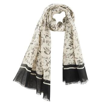 HAMILTON dámský šátek ze 100% lnu - květinový potisk