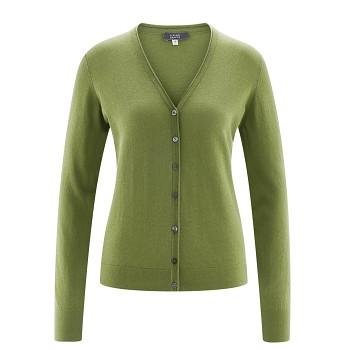GITTE Dámský propínací svetr ze 100% biobavlny - zelená fern