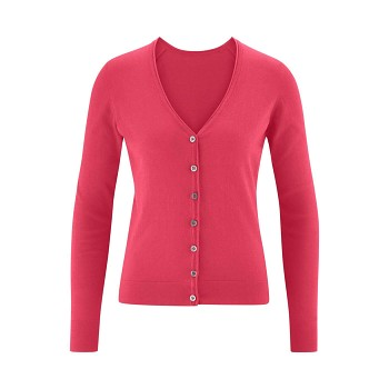 GITTE Dámský propínací svetr ze 100% biobavlny - růžová raspberry