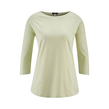 KRISTIN dámský pyžamový top s 3/4 rukávy ze 100% biobavlny - přírodní milky green