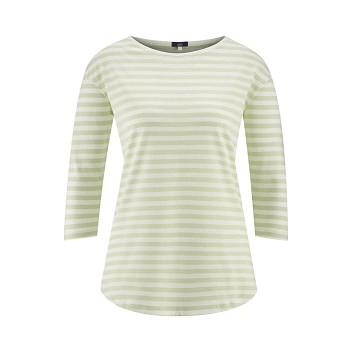 KRISTIN dámský pyžamový top s 3/4 rukávy ze 100% biobavlny - bílá/přírodní milky green