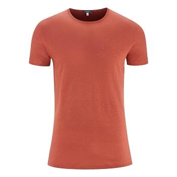 ANDY Pánské tričko s krátkými rukávy ze 100% lnu - červená clay
