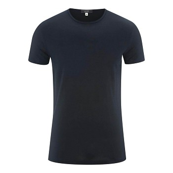 ANDY Pánské tričko s krátkými rukávy ze 100% lnu - tmavě modrá ink