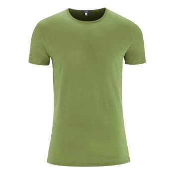 ANDY Pánské tričko s krátkými rukávy ze 100% lnu - zelená fern