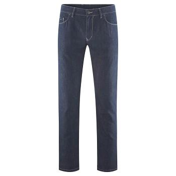 KEANU pánské džíny ze lnu a bio bavlny - tmavě modrá indigo