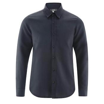 KEVIN pánská košile ze lnu a biobavlny - tmavě modrá ink
