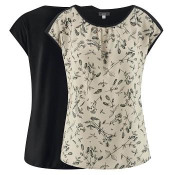 KLARISSA dámské tričko z biobavlny a EVO vlákna - černá/wildflowers