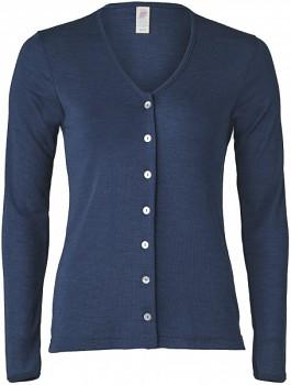 Dámský svetřík s dlouhými rukávy z bio merino vlny a hedvábí - tmavě modrá navy