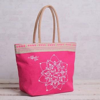 LADY velká jutová taška - růžová
