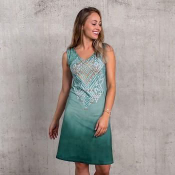 BAKTI Dámské šaty z biobavlny a bambusu s růženínem - zelená