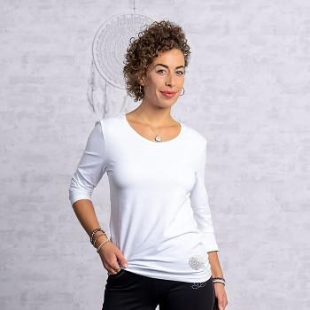SILVER Dámské tričko s 3/4 rukávy z biobavlny a stříbrného vlákna s turmalínem -bílá