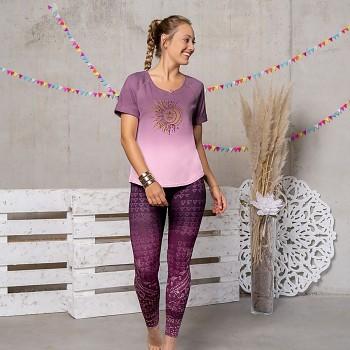 MANI Dámské tričko s krátkými rukávy z biobavlny s růženínem - fialová