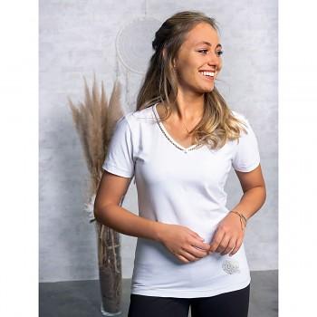 SILVER Dámské tričko s krátkými rukávy z biobavlny a stříbrného vlákna s turmalínem -bílá