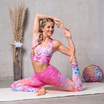 BRAVERY Dámská sportovní braletka na jógu z biobavlny  s růženínem - růžová