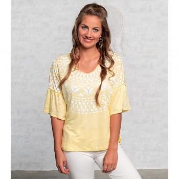 HAPPY SUN Dámský top s krátkými rukávy ze 100% lnu s růženíny - žlutá