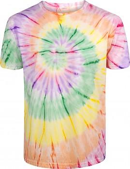 Pánské/unisex tričko s krátkými rukávy ze 100% biobavlny - duhová Tie Dye