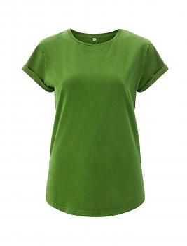 Dámské tričko s krátkým zahnutým rukávem ze 100% biobavlny - světle zelená