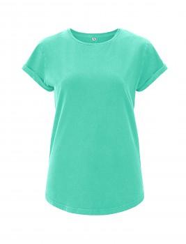 Dámské tričko s krátkým zahnutým rukávem ze 100% biobavlny - modrozelená mint