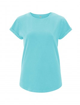 Dámské tričko s krátkým zahnutým rukávem ze 100% biobavlny - tyrkysová