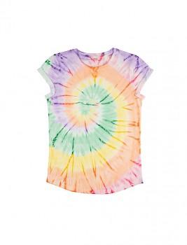 Dámské tričko s krátkým zahnutým rukávem ze 100% biobavlny - duhová Tie Dye