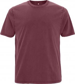 Pánské/unisex oversized tričko s krátkými rukávy ze 100% biobavlny - fialová stone wash burgundy