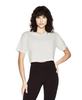 Dámské krátké tričko s krátkými rukávy ze 100% biobavlny - bílá stone wash