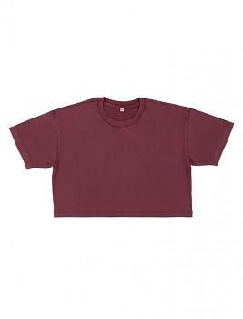 Dámské krátké tričko s krátkými rukávy ze 100% biobavlny - fialová stone wash burgundy