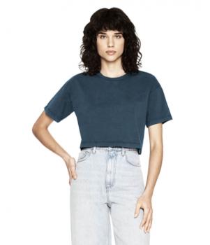 Dámské krátké tričko s krátkými rukávy ze 100% biobavlny - tmavě modrá stone wash denim