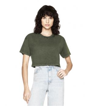 Dámské krátké tričko s krátkými rukávy ze 100% biobavlny - zelená stone wash
