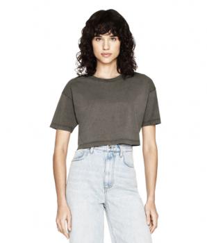 Dámské krátké tričko s krátkými rukávy ze 100% biobavlny - šedá stone wash