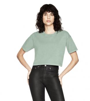 Dámské krátké tričko s krátkými rukávy ze 100% biobavlny - šedozelená stone wash sage