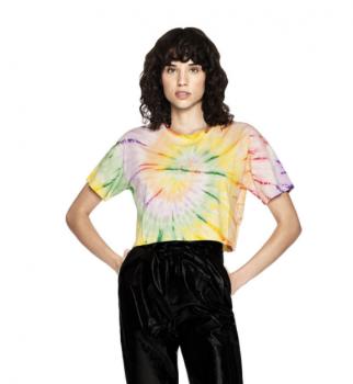 Dámské krátké tričko s krátkými rukávy ze 100% biobavlny - duhová Tie Dye