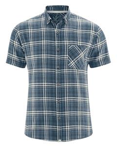 CHECK pánská košile s krátkými rukávy z konopí a biobavlny - tmavě modrá navy