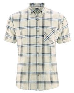 CHECK pánská košile s krátkými rukávy z konopí a biobavlny - béžová hanf