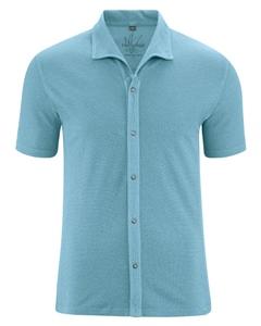 JERS pánská košile s krátkými rukávy z konopí a biobavlny - modrá wave