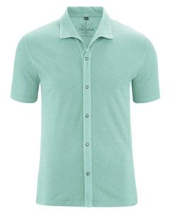 JERS pánská košile s krátkými rukávy z konopí a biobavlny - světle modrá sage