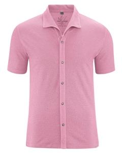 JERS pánská košile s krátkými rukávy z konopí a biobavlny - růžová rose
