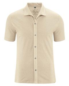 JERS pánská košile s krátkými rukávy z konopí a biobavlny - béžová gobi