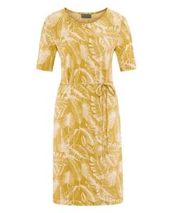 JUNGLE Dámské šaty z konopí a biobavlny - žlutá curry