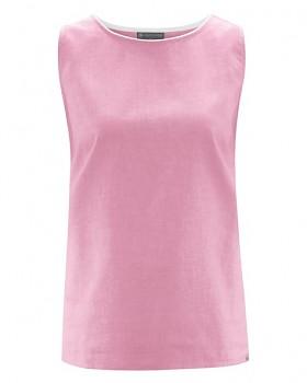 WOVEN dámský tkaný top bez rukávů z biobavlny a konopí - růžová rose