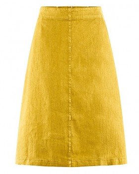 MIDI dámská sukně z konopí a biobavlny - žlutá curry