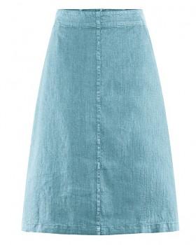 MIDI dámská sukně z konopí a biobavlny - modrá wave