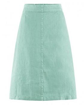 MIDI dámská sukně z konopí a biobavlny - světle modrá sage