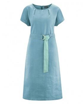 BELT Dámské šaty s páskem z konopí a biobavlny - modrá wave
