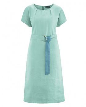 BELT Dámské šaty s páskem z konopí a biobavlny - světle modrá sage