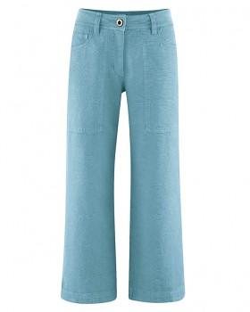 CULOTTE dámské kalhoty z konopí a biobavlny - modrá wave