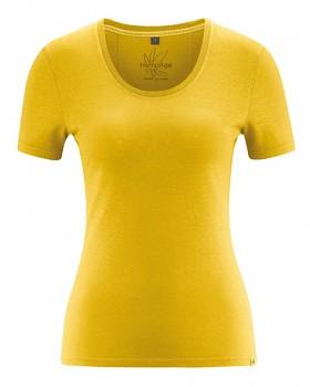 JERSE dámský top s krátkými rukávy z konopí a biobavlny - žlutá curry