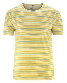 STRIPE pánské pruhované tričko s krátkým rukávem z konopí a biobavlny - žlutá gobi