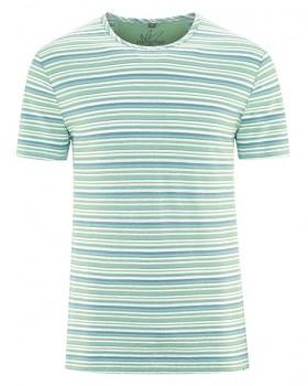 STRIPE pánské pruhované tričko s krátkým rukávem z konopí a biobavlny - modrá sage