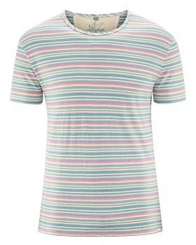 STRIPE pánské pruhované tričko s krátkým rukávem z konopí a biobavlny - modrá wave
